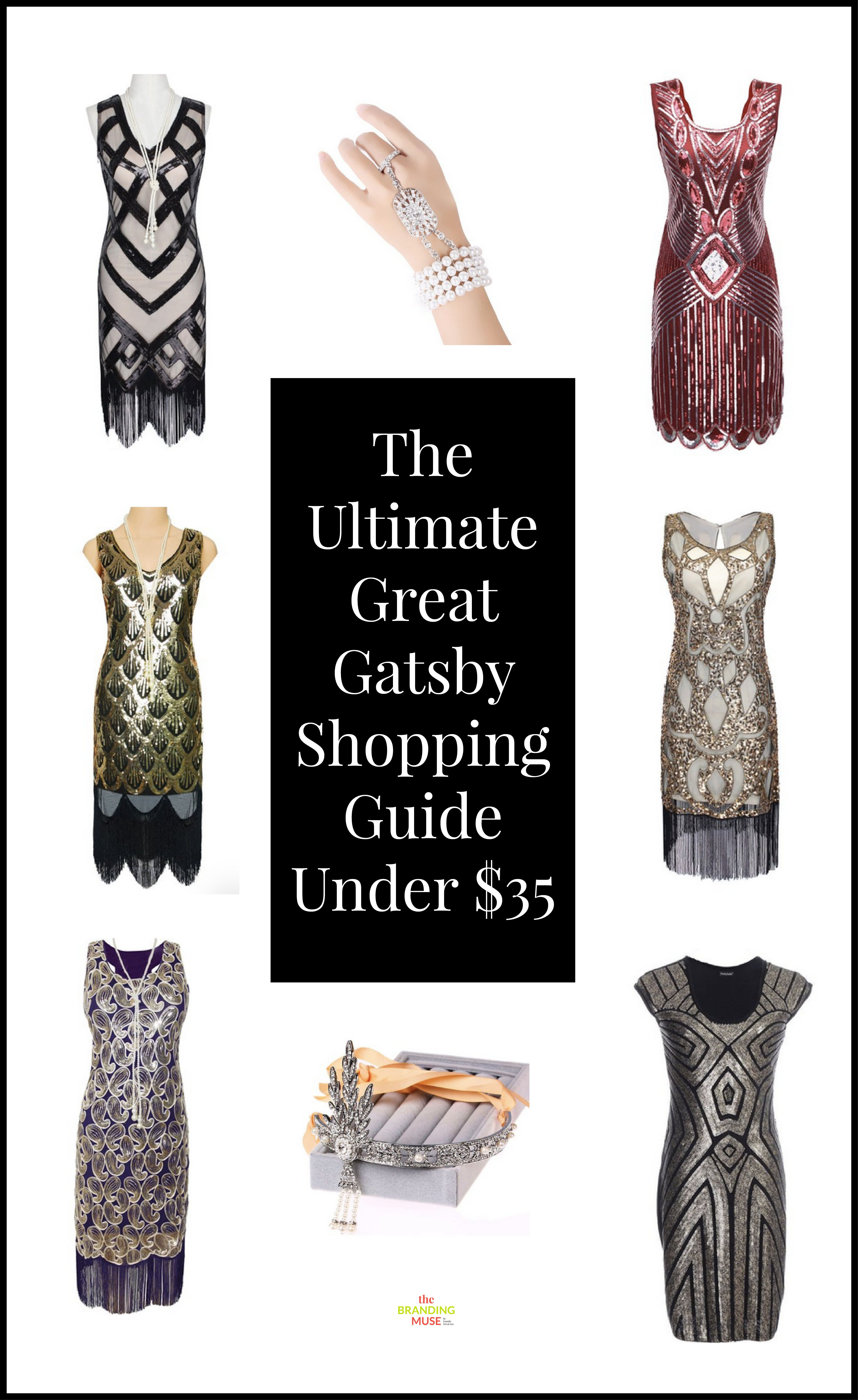 6bc470c36 Great Gatsby dresses, accessories and headpieces all under $35. These ideas  are also perfect for the roaring 20s or any flapper era kinds of events and  ...