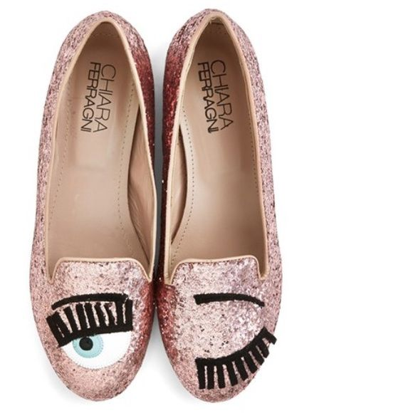 Never Worn Pink Chiara Ferragni 'Flirting' Flat Pink glitter flats by fashion blogger  Chiara Ferragni from The Blonde Salad. Never worn...super cute on!! Just a little too fight for me. Runs a half size small.  Chiara Ferragni Shoes Flats & Loafers