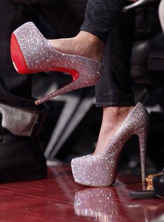 62c504931616 bag shoes red bottoms daffodile pumps sparkly heels silver shoes sparkle  glitter high heels louboutin crystal closed toe heels
