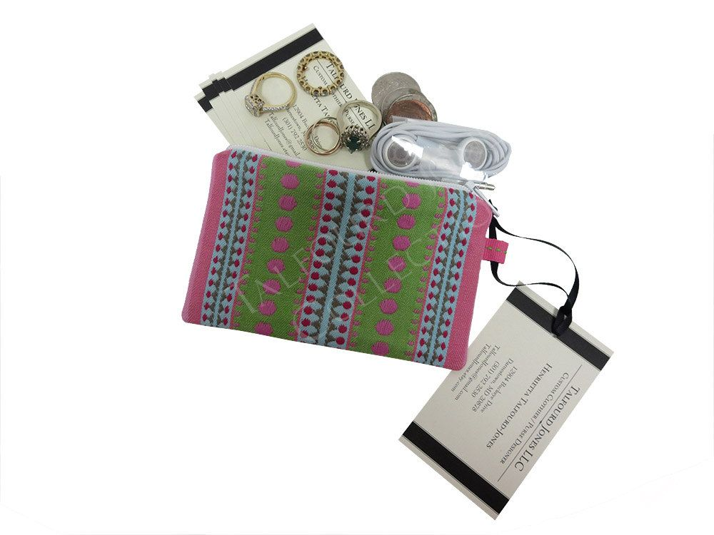 Business Card Case - Slim Change Wallet - Ring Pouch - Fabric ...