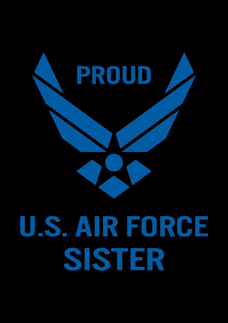 Proud Us Air Force Sister Logo Free Svg File Svg Free Files Air Force Baby Air Force Girlfriend