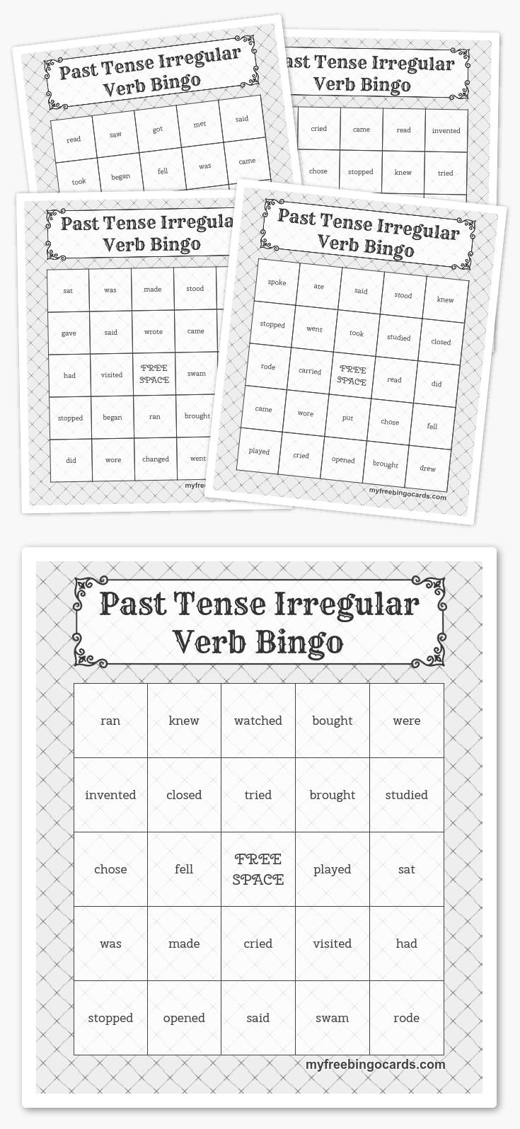 Past Tense Irregular Verb Bingo | Language Arts | Pinterest ...