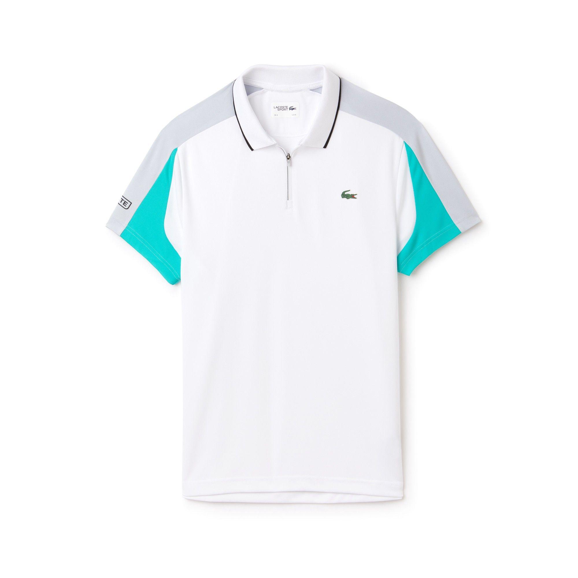 b509199e9cd8ae Lacoste Men s Sport Zip Neck Contrast Bands Piqué Tennis Polo - Lighthouse  Red Navy Blue- 4Xl Green