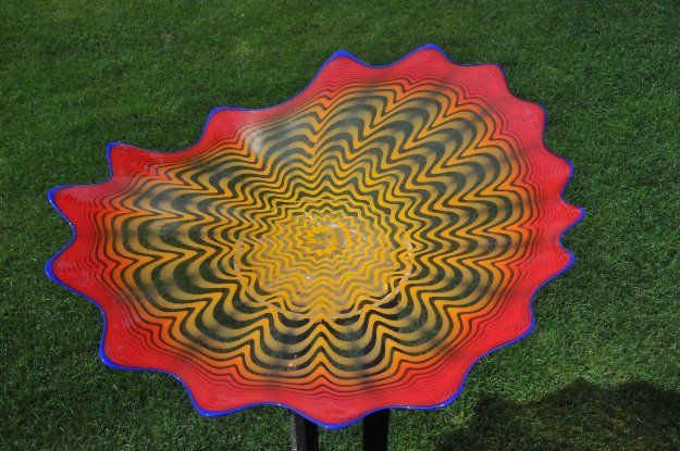 Flash Red Persian With Indigo Lip Wrap - 15 Pieces Glass Sculpture Unique 2002…
