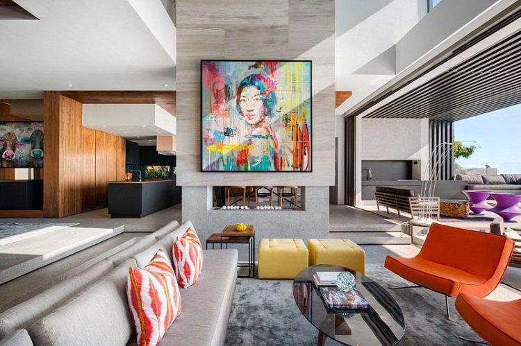 Portrait pop art contemporain d\u0027une maison de design Living rooms