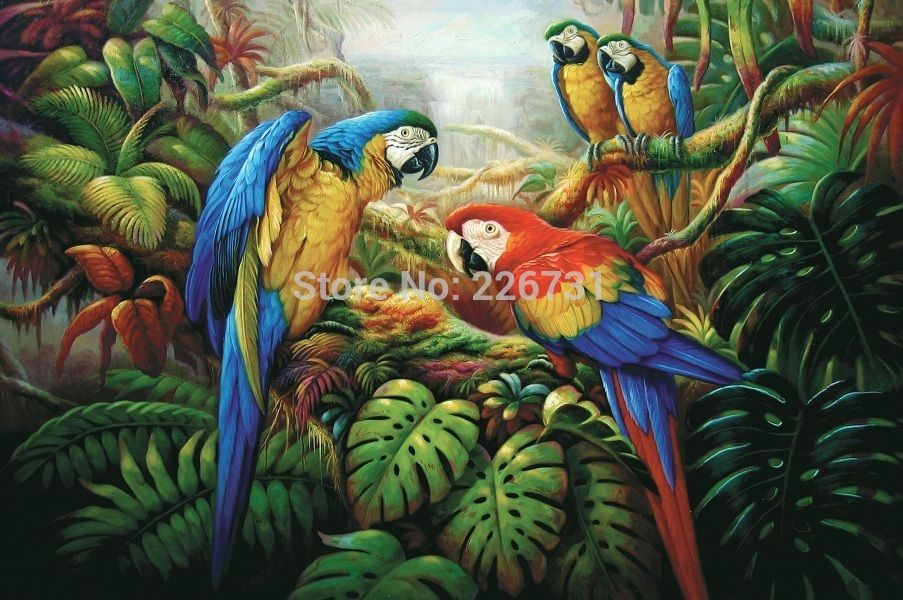 Pas cher imprim perroquet arbre peinture l 39 huile sur le mur de toile p - Acheter toile peinture pas cher ...