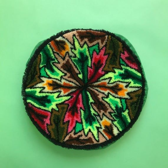 Vintage 70s Funky Latch Hook Rug Round Pillow Cover | Vintage Corduroy and Carpet Pillow Cover | Funky 70s Decorative Pillow