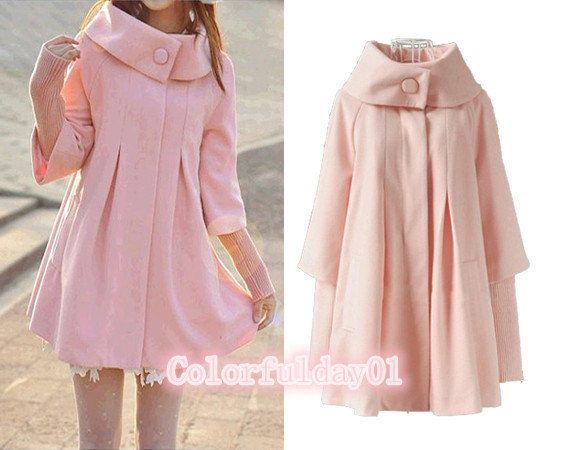 women's Princess style pink cape Fitted Wool Coat jacket Wool Cape ...