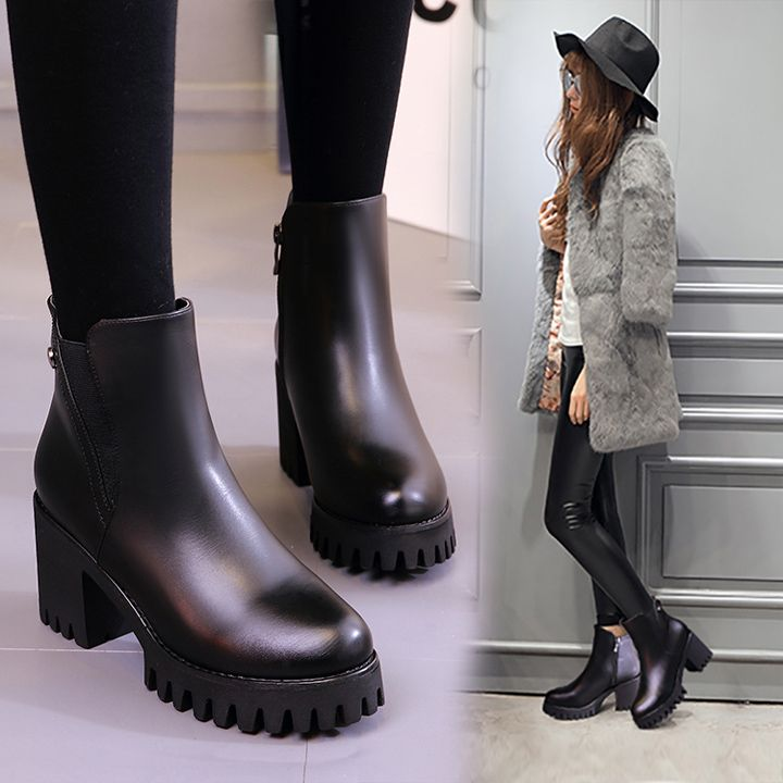 8a709c9f694b3 VEUNION » Korean Style Heavy-bottomed Platform Ankle Boots Black PU Round  Toe Side Zippers Thick High Heels Short Booties Size 40 Shoes