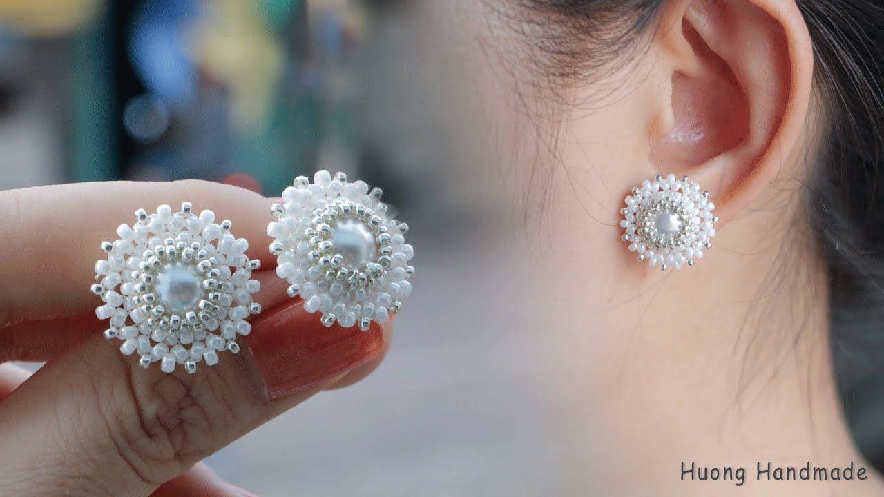 How To Make Earrings Beaded Stud Earrings Jewelry Making In 2020