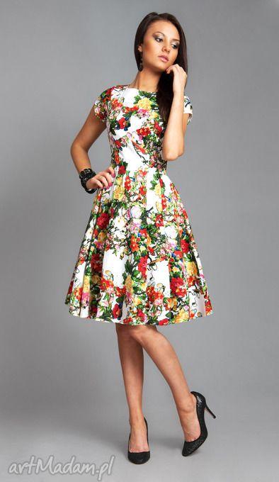 Sukienka April Midi Sĺ Owianka Kwiaty Rozkloszowana Letnia Fashion Style Vintage