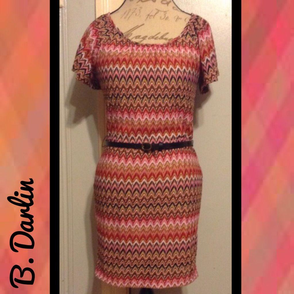 B darlin short sleeve reds chevron print dress chevron print
