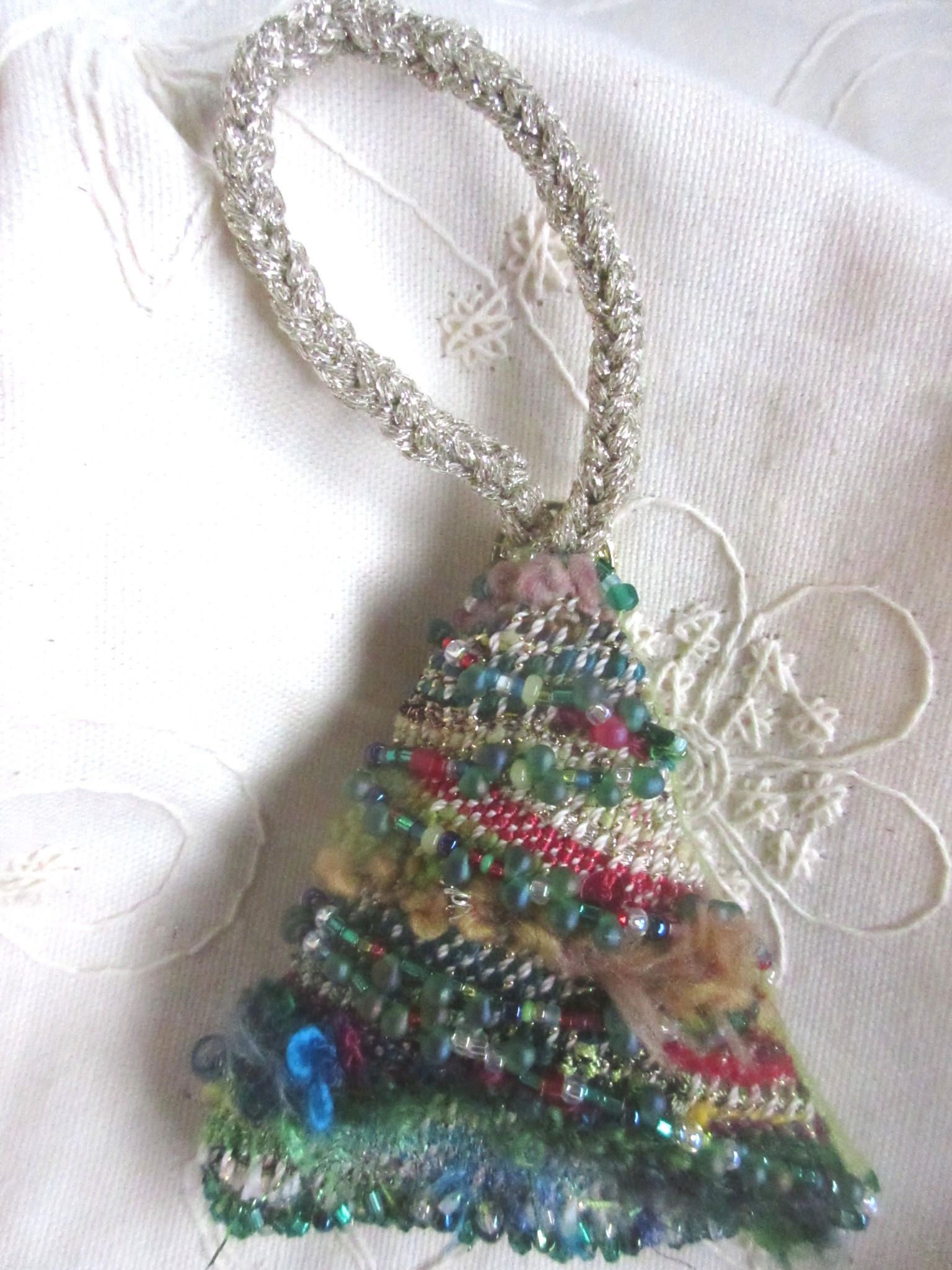 Hand Woven Christmas Tree Ornament with unique fuzzy yarns and beads