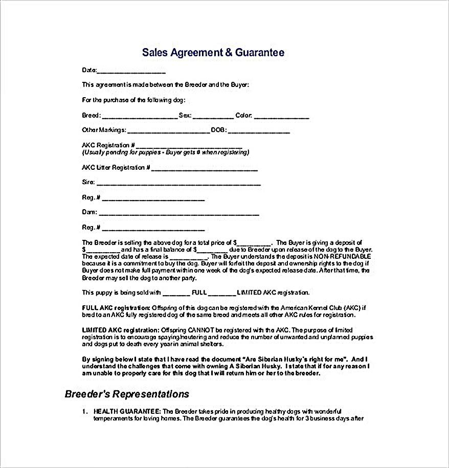 Sample Sales Agreement Guarantee  Reliable Sales Agreement