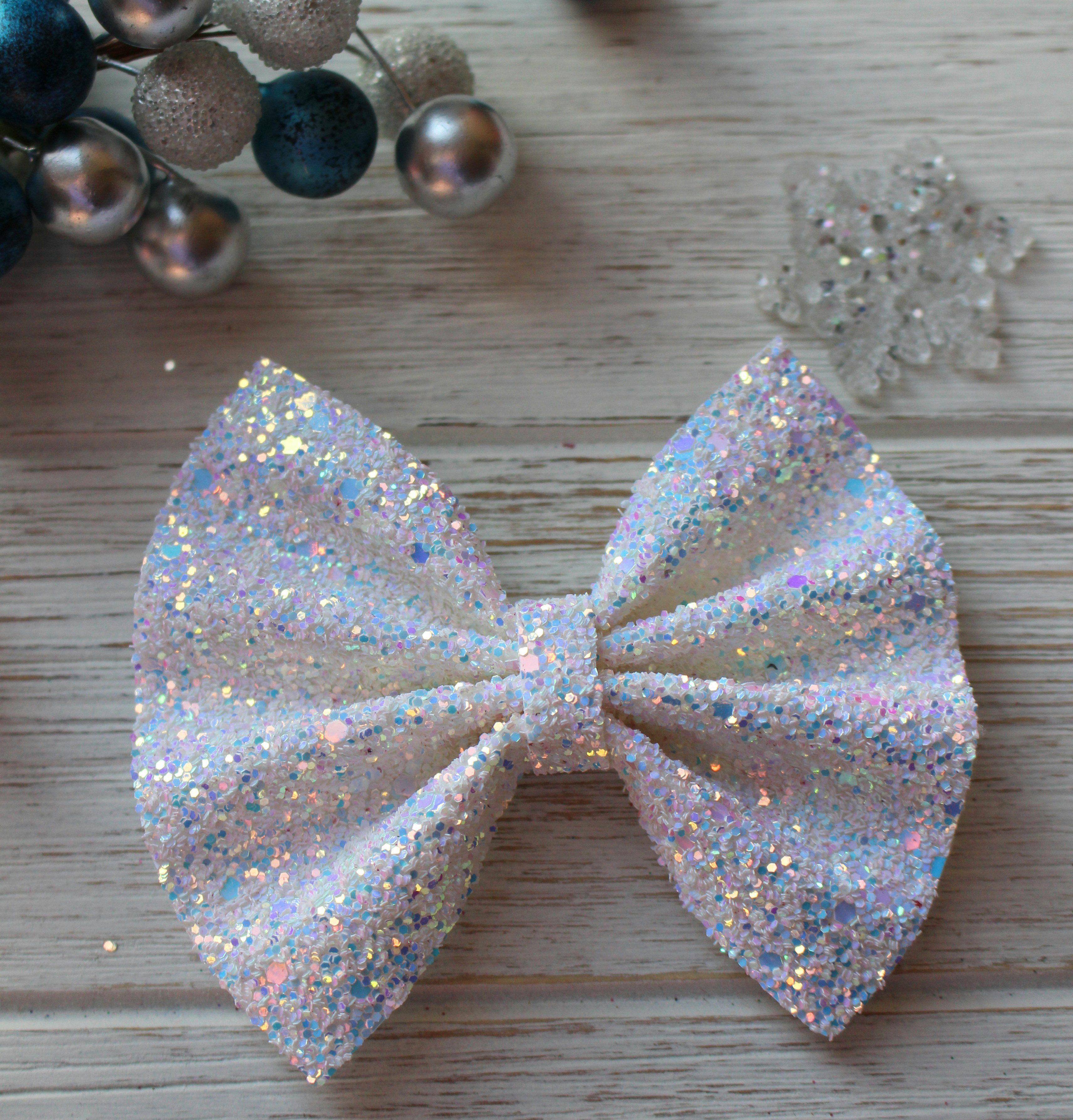 Elsa white blue chunky glitter bow headband hair clip