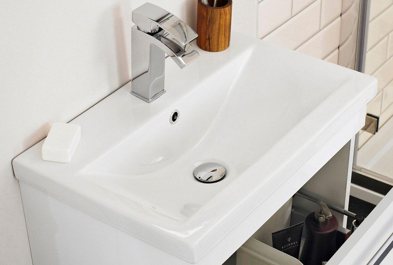Nuie Eden Gloss White 500mm Floor Standing Vanity Unit With 18mm