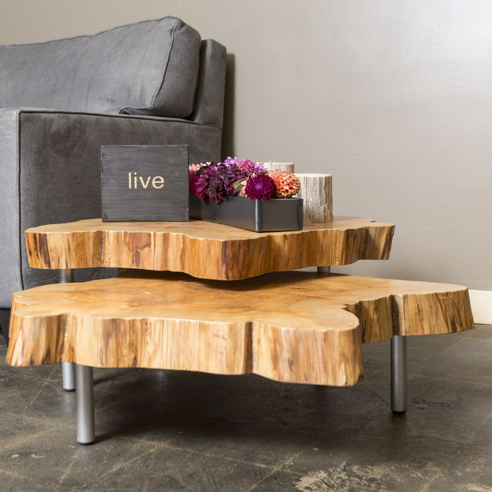 These Live Edge Maple Tables can be beautifully nested together or ...