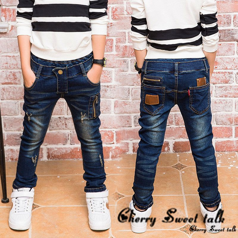Boys zipper jeans, jeans wear fashionable style and high quality kids jeans, boys ripped jeans, 2-14 years old  .  86211