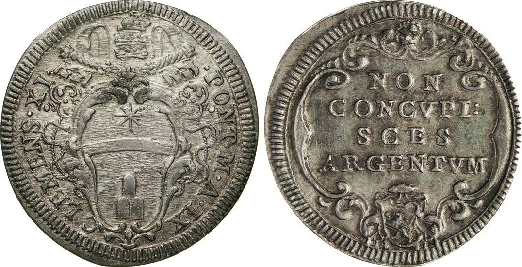 NumisBids: Numismatica Varesi s.a.s. Auction 65, Lot 803 : CLEMENTE XI (1700-1721) Giulio A. IX, Roma. Munt. 99 Ag g...