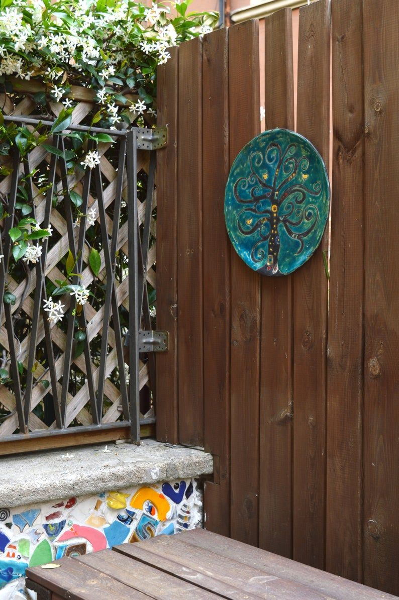 Come Appendere Piatti In Ceramica piatto ceramica raku decorativo, albero della vita, scultura