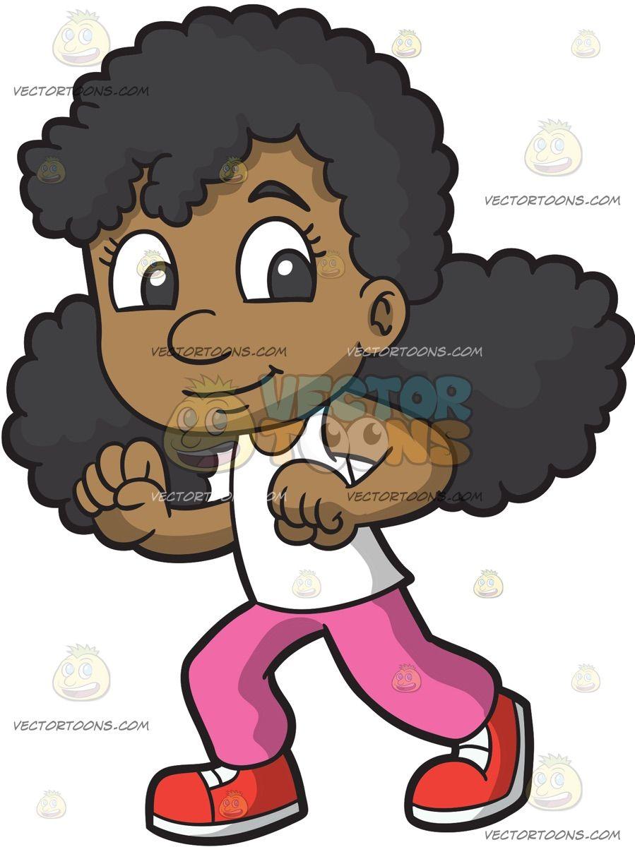 Jumping Girl Black Girl Cartoon Girl Cartoon Happy Cartoon