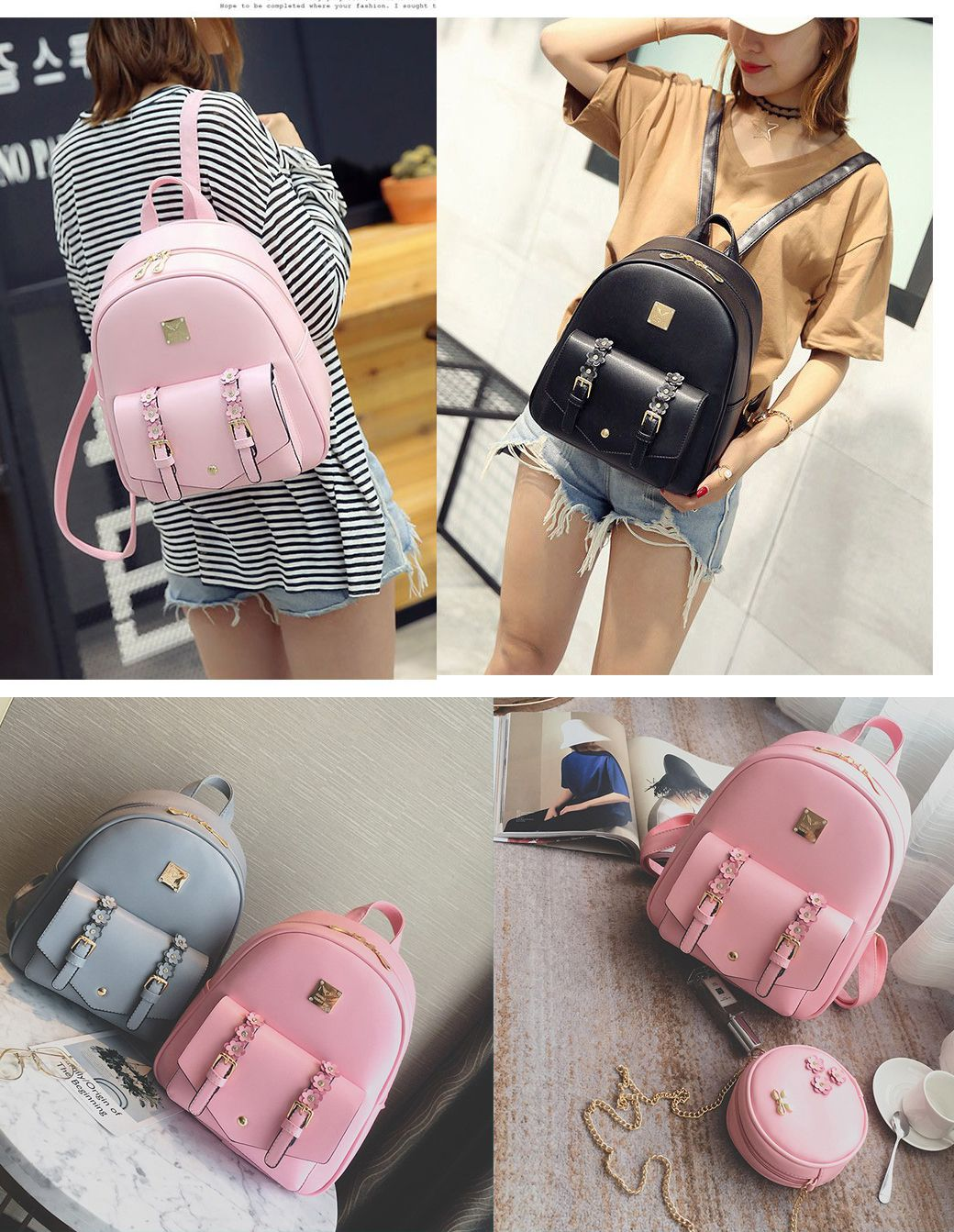 46846d01cd75 Cute Small Stereo Flowers Shoulder Bag Circular Mini PU Backpack backpack  for girls teens