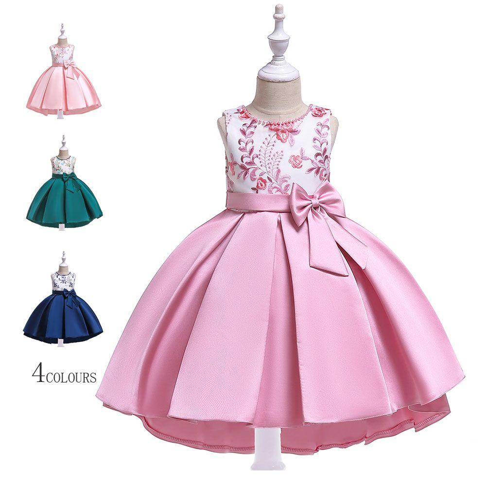 5a401a856e6c0 可愛い 女の子ドレス リボン飾り ノースリーブ 刺繍 キッズドレス ジュニアドレス お姫様 ワンピース イベント セレモニー 子供