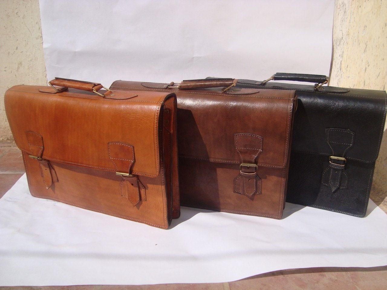 ec41fe9bea Moroccan vintage leather Briefcase laptop bag document case shoulder  Messenger mens carry bag.  89.99