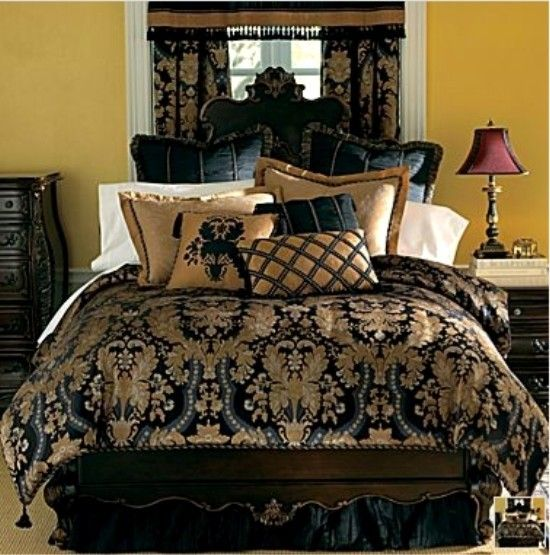 New classic royal black gold luxurious forter set king