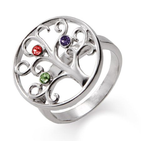 3 Stone Sterling Silver Custom Birthstone Family Tree Ring Celtic