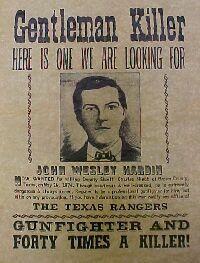 John Wesley Hardin Movie John Wesley Hardin Wanted Poster In Los Desperados By Vilde Vesten Det Vilde Vesten Vild