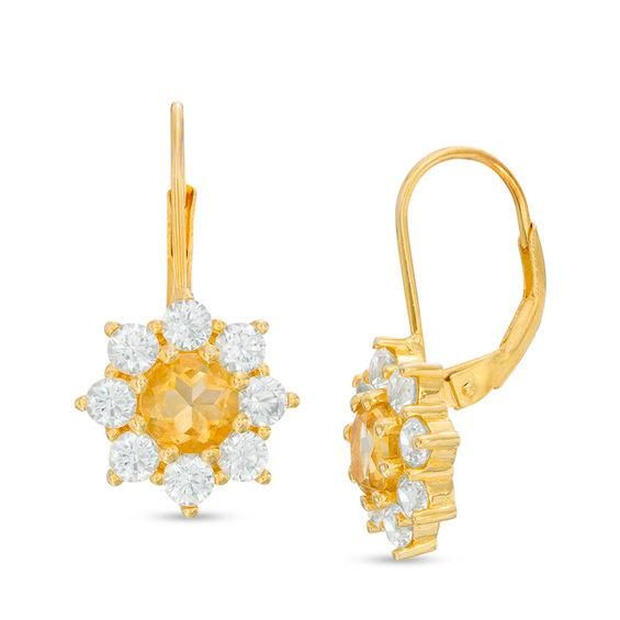 Zales Peridot, Citrine and Lab-Created White Sapphire with Diamond Accent Earrings in Sterling Silver with 14K Gold Plate