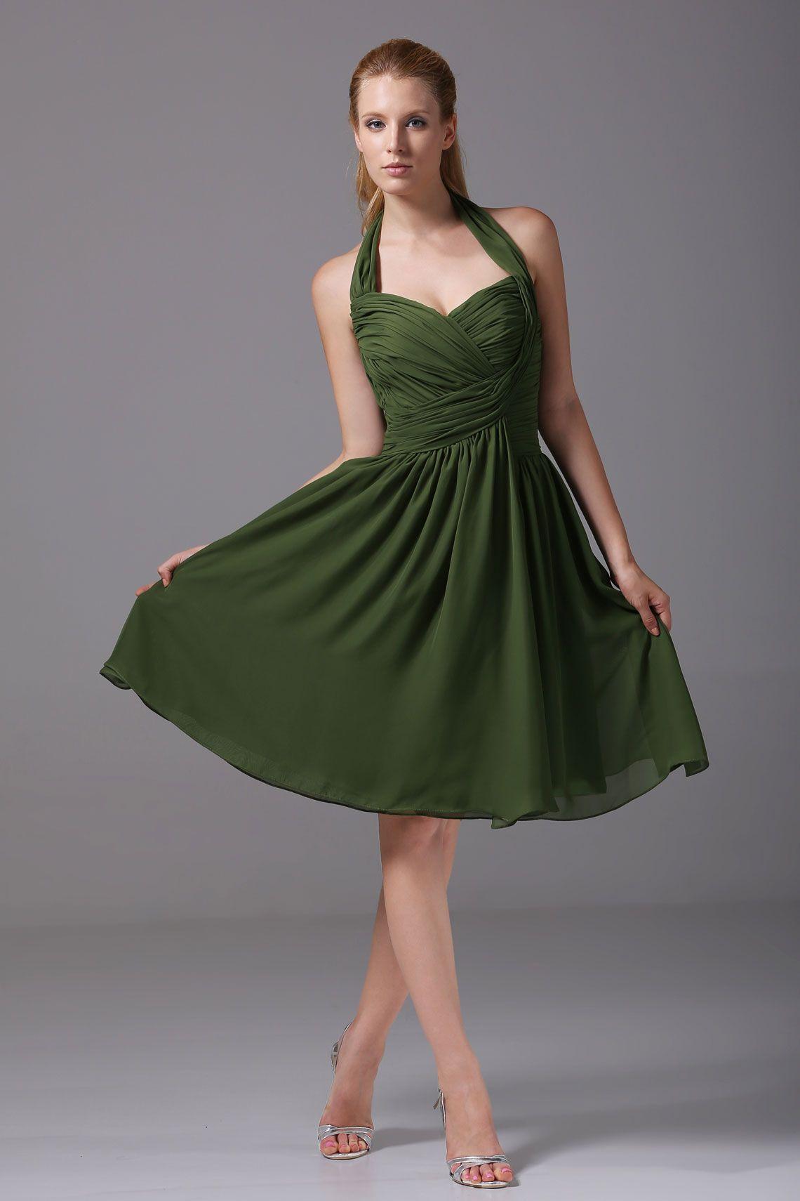 Green short dress for wedding  Natural Waist Aline Mini Halter Zipper Sleeveless Bridesmaid Dress