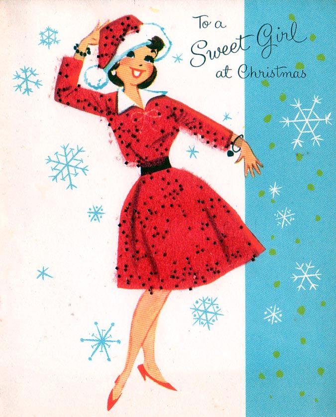 54622cc1b9c68 Vintage Christmas card with retro brunette in Santa hat