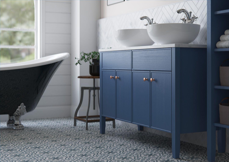Blue bathroom furniture by JT Ellis Blue bathroom