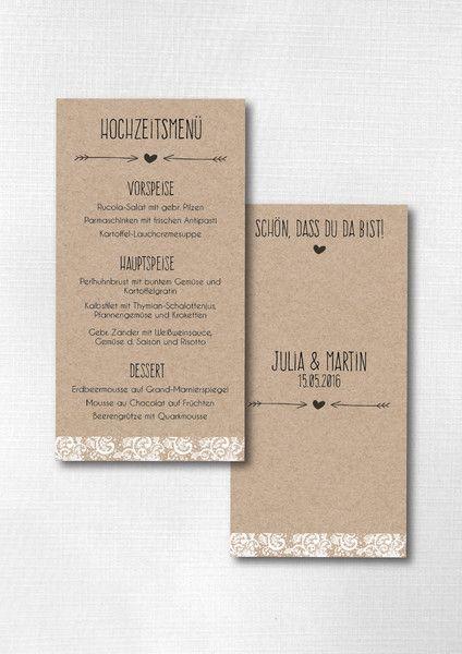 Boda – Tarjeta de menú Boda – Boda vintage ♥♥♥ – una pieza de diseño …