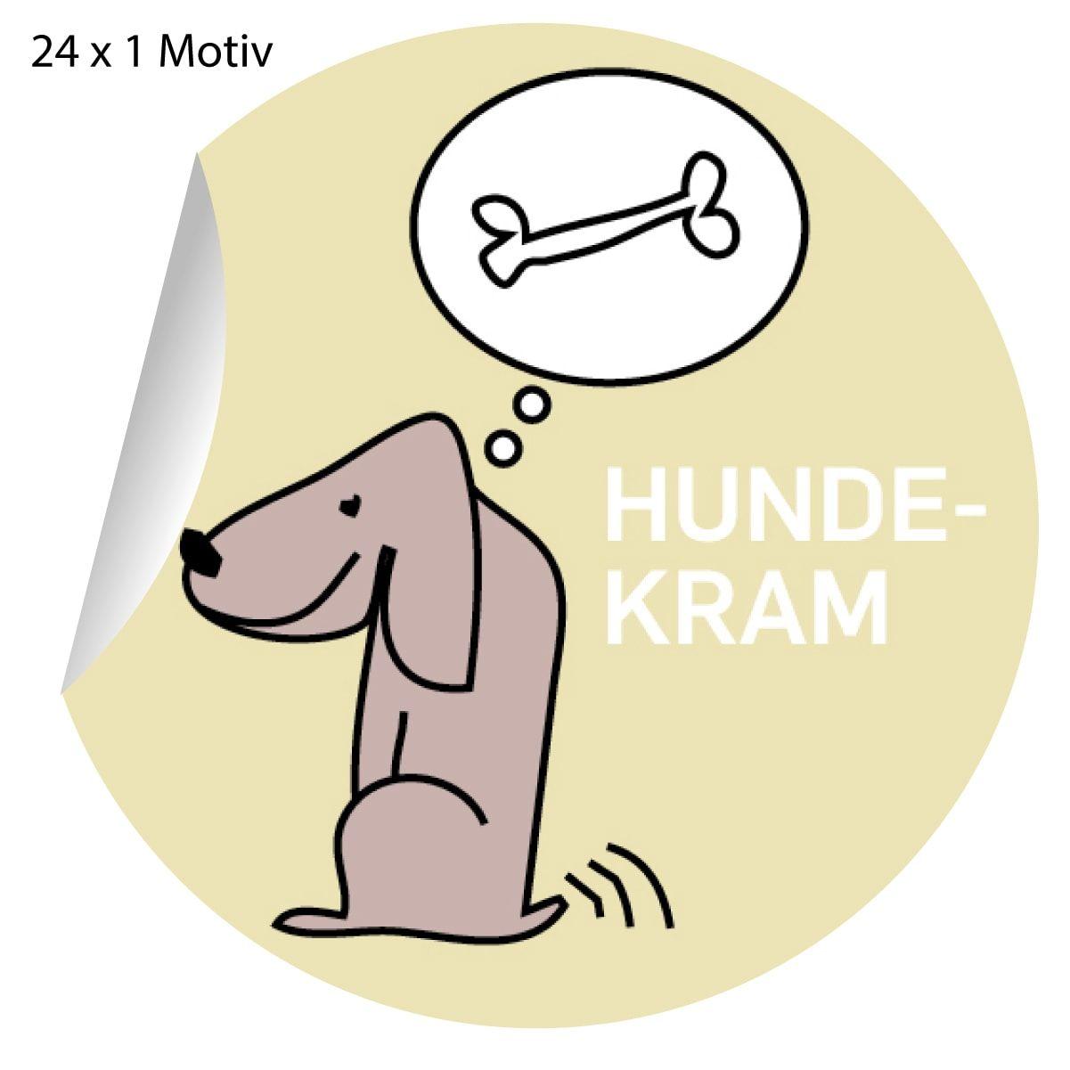 24 Lustige Hunde Aufkleber Mit Knochen Matte Papieraufkleber O