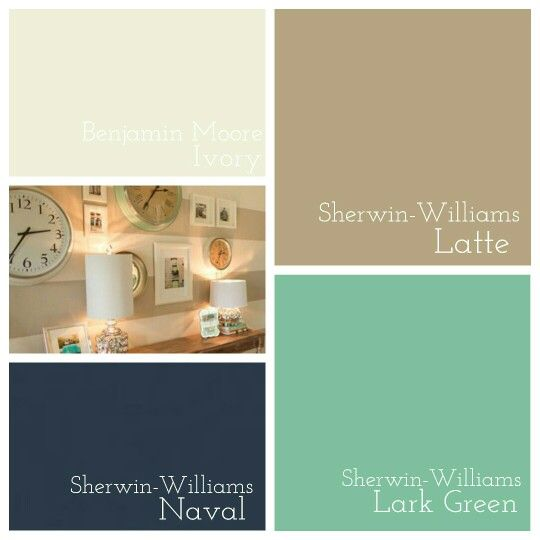 Living Area Color Scheme Sherwin Williams Latte Naval Antique White Lark Green
