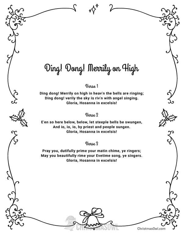 Free printable lyrics for Ding Dong Merrily on High. Download them at https://christmasowl.com ...