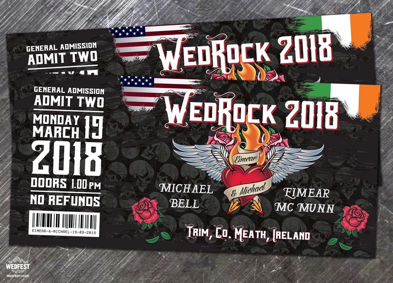 Ireland Usa Rock And Roll Tattoo Theme Wedding Invite Wedfest: Heavy Metal Wedding Invitations At Websimilar.org
