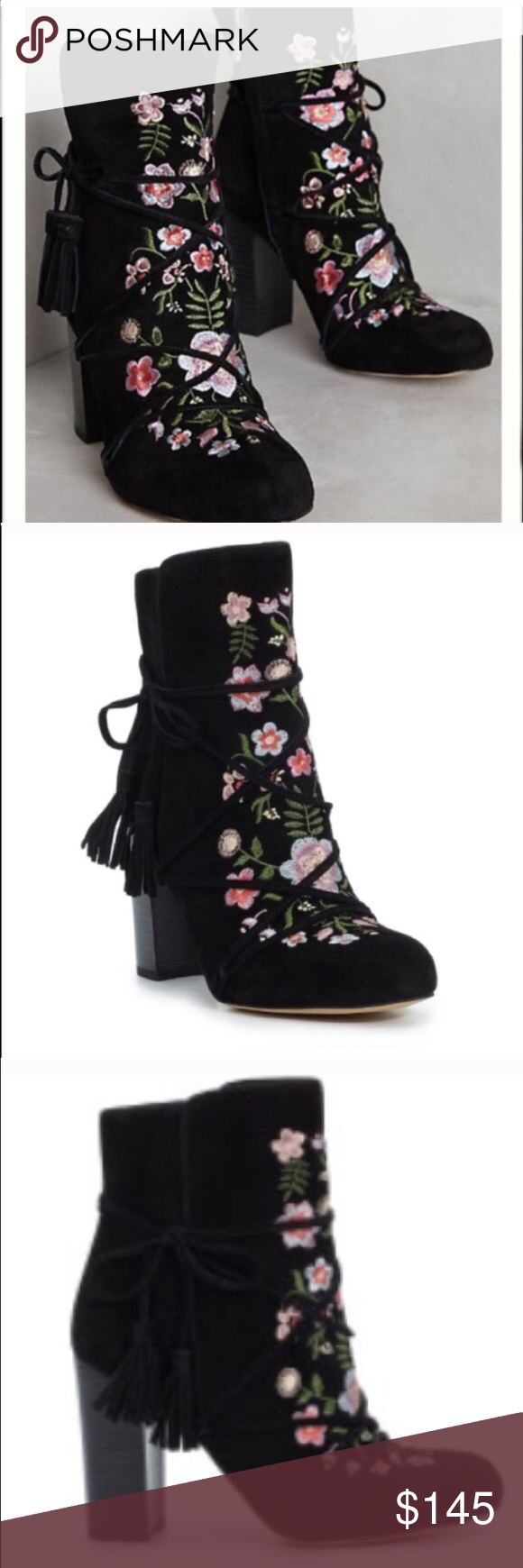 dffb2bf9981486 Spring Floral Bootie Floral bootie by Sam Eldeman. Tassels on side.  Conversation piece for sure! PRICE FIRM Anthropologie Shoes Ankle Boots    Booties