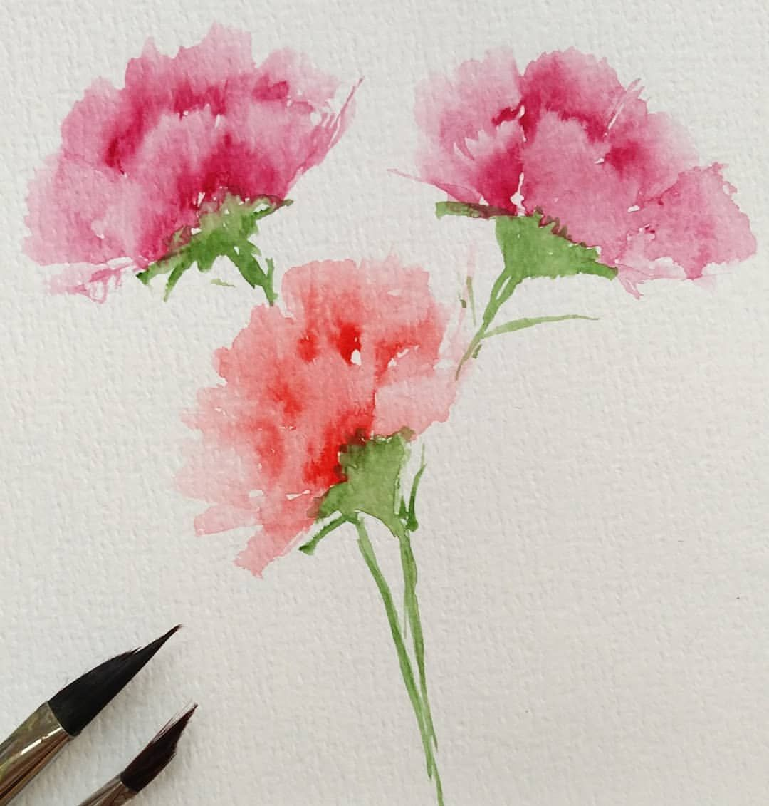 Beautiful Pieces By My Amazing Students At Today S Paint With Triangle Brush Watercolor Flowers Paintings Watercolor Paintings For Beginners Floral Watercolor