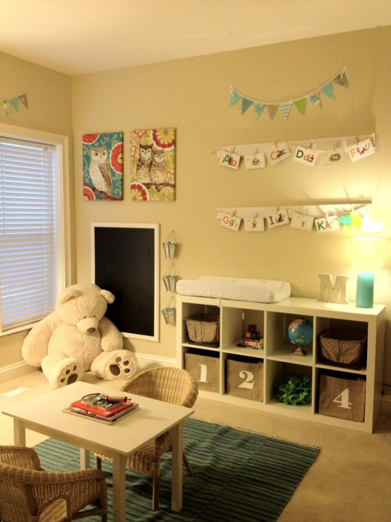 playroom idea - boards with clothespins to display artwork ...