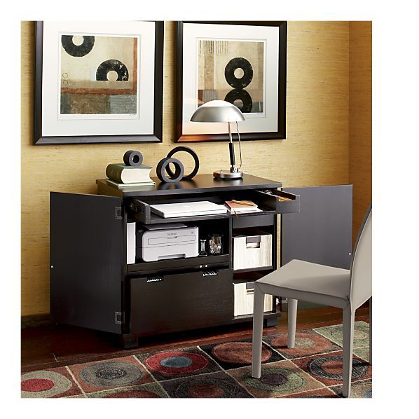 An Office In A Cabinet With Room For Files