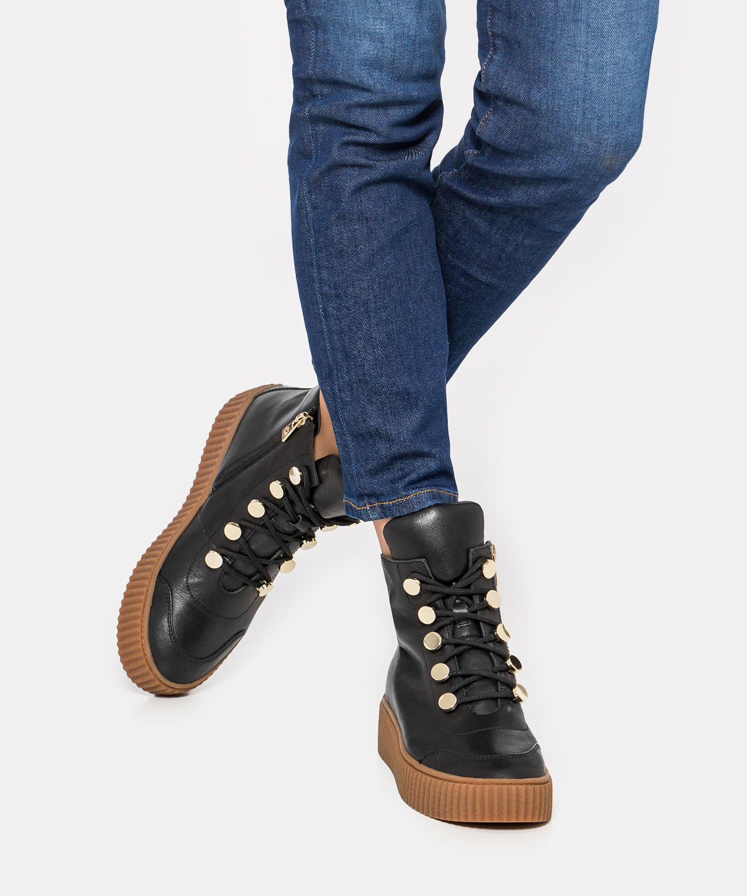Czarne Trzewiki Damskie Wykonane Z Wysokiej Jakosci Skory Licowej Swoim Oryginalnym Designem Przyciagaja Uwage Kazd Puma Platform Platform Sneakers Sneakers