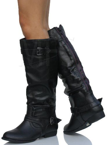 4a945950da00 Amazon.com  Black Faux Leather Buckle Purple Back Zipper Knee High Riding  Flat Boots Palma  Shoes