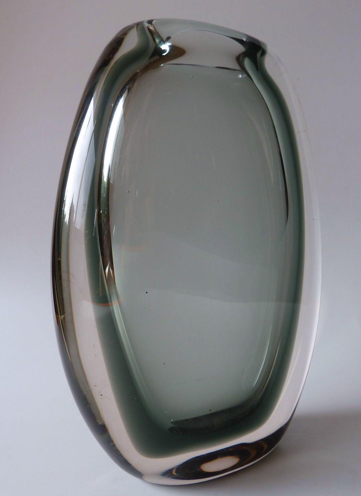 Hadeland Willy Johansson Sommerso Vase Norway 1959 Gray Clear Mid Century Retro | eBay