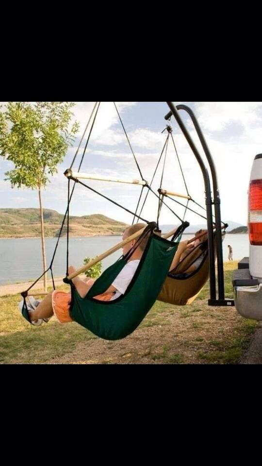 Trailer hitch hammock stand!!! Need one of these for the truck!!!