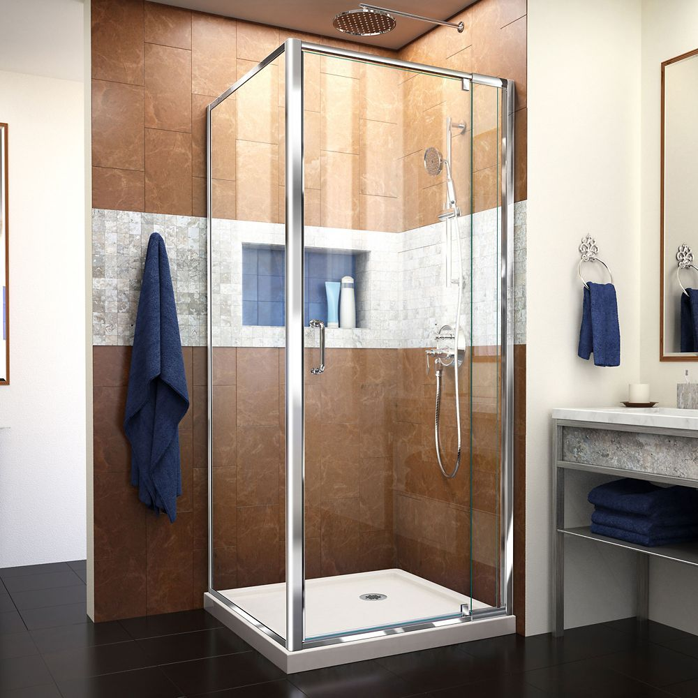 8f3a9515653 Flex 32 inch D x 32 inch W x 74 3 4 inch H Shower Enclosure in Chrome with  Corner Drain Biscuit Base