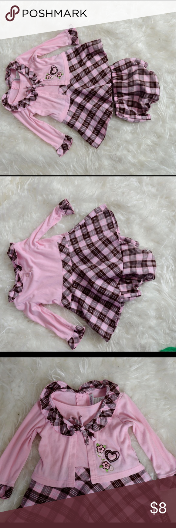 Pink dress with pink jacket  Pinkbrown two piece baby dress